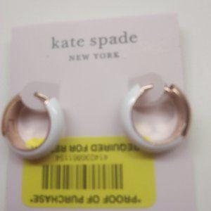 Kate Spade New White Enamel Hoop Earrings